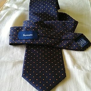Faconnable silk tie made in Italy Navy with orange